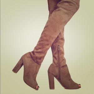 Thigh High Tan Opened Toed 5 inch Boot Heals